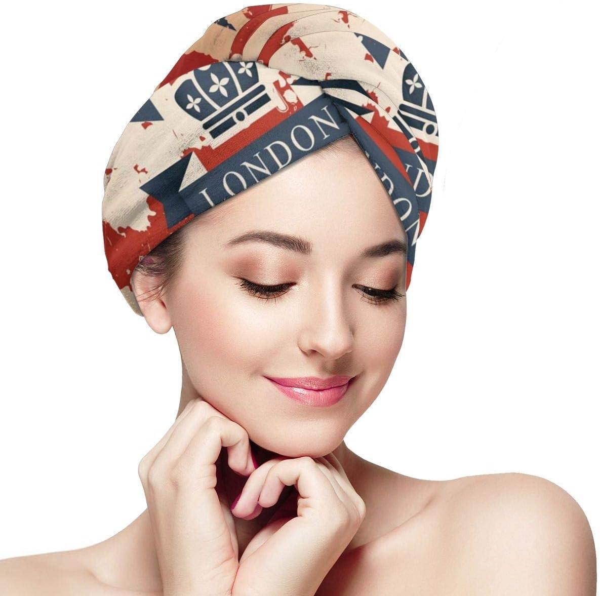 N/A Maleta de viaje vintage con la bandera británica de Londres cinta y envolturas para la cabeza para mujer gorro de ducha anti encrespamiento absorbente toalla de ducha sombrero