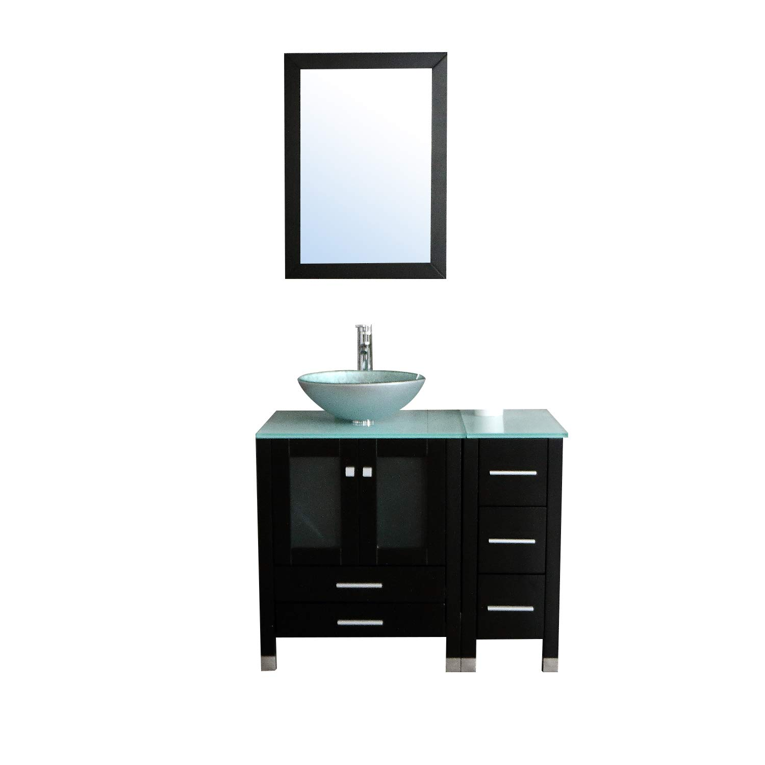 Wondrous Walcut 36 Bathroom Vanity And Sink Combo Mdf Wood Cabinet And Glass Vessel Sink And Faucet Combo 5 Home Interior And Landscaping Ologienasavecom