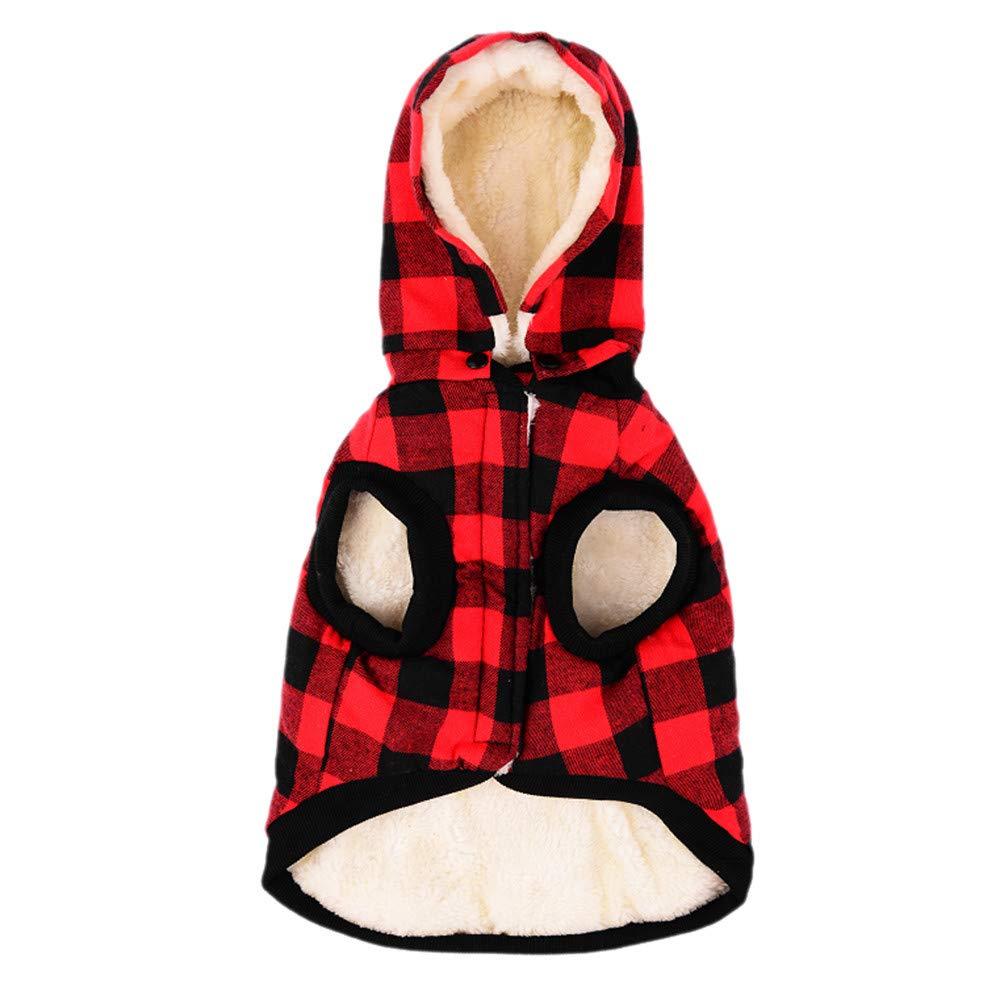Pet Cat Dog Winter Warm Fleece Plaid Hooded Coat Removeable Cap Puppy Soft Sweater Jacket Pockets Costumes Aritone pet coat