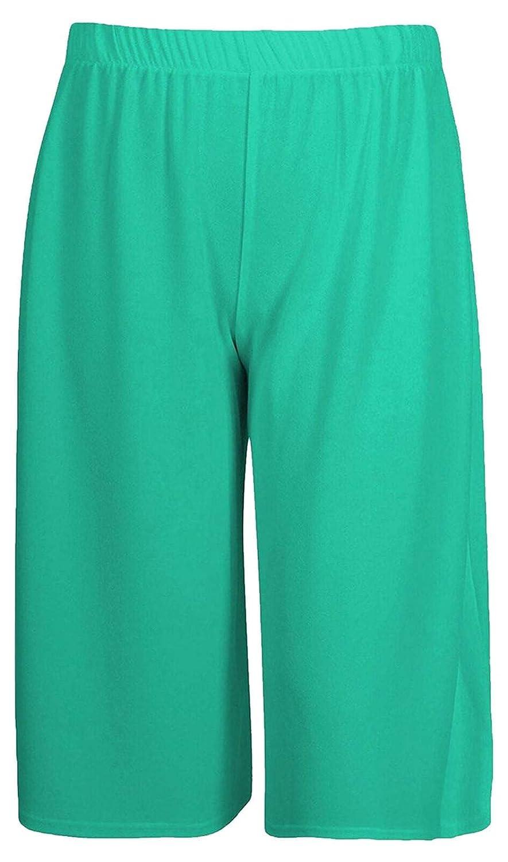 Ladies Women Plain 3//4 Culotte Trousers High Waisted Wide Leg Cropped Trouser Baggy Pants UK Plus Size 8-26