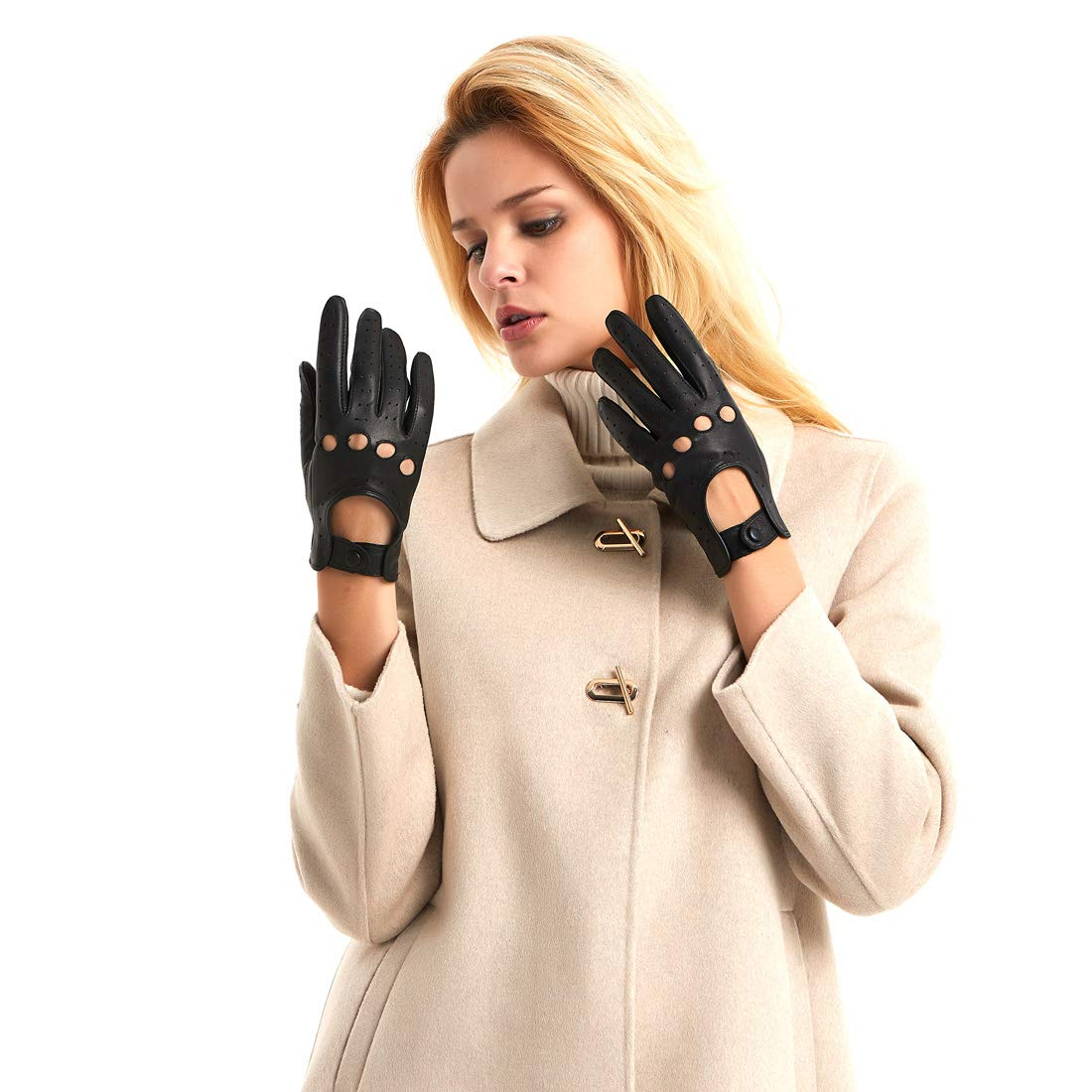 Black XL Harssidanzar Womens Leather Driving Gloves Unlined