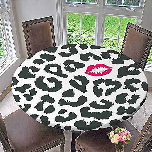 Mikihome Circular Table Cover Cheetah Print with Kiss Lipstick Mark Dotted Trendy Art Black White Red for Wedding/Banquet 63