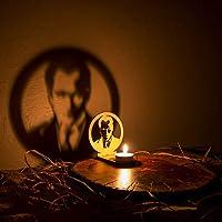 Veramaya Ahşap Lazer Kesim Tealight Portre Atatürk Gölge Mumluk 9x10x5 Cm