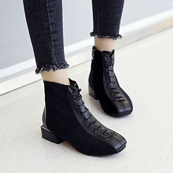30c60ca4490 Amazon.com  Clearance Sale! Women Ankle Boots Cinsanong Low Heel Flock  Short Shoes Chunky Casual Lace-Up Boots  Clothing