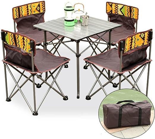 BZ-ZK SZQ Mesa y Silla Plegables al Aire Libre Juego de 5 Piezas, Excursión autoguiada para Picnic Excursión fácil de Llevar Combinación de Mesa y sillas para Picnic Artesanía Exquisita: Amazon.es: Hogar