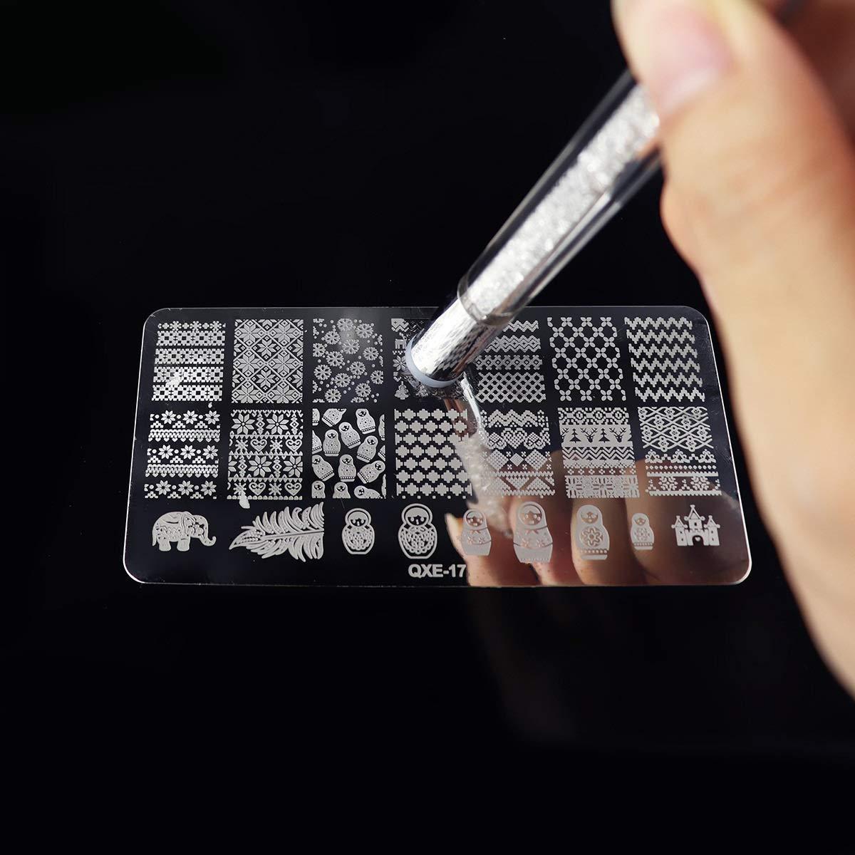 Jinxuny Kit de cepillos para u/ñas Pincel de Arte de Doble Punta Dise/ño de Pintura Punteado Detallado Silicona Estampador Esponja Mezclador Mezclador Rhinestone Mango Blooming Pen
