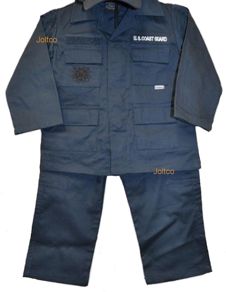 Kids US Coast Guard 3 Pc Blue USCG Work Uniform MED (10-12)