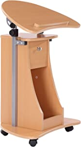 HOMCOM Height Adjustable Laptop Cart Rolling Mobile Podium Desk Stand with Swivel Top & Storage - Beech Wood