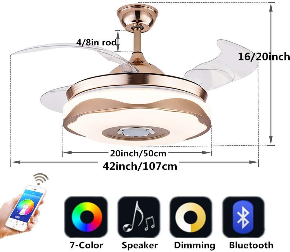 Color : Gold, Size : C Ventilador de Techo Integrado con luz Dos en Uno Led Luminoso de Silencio Extractor de ba/ño Ventilador de ventilaci/ón