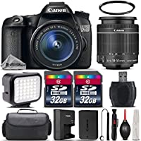Canon EOS 70D DSLR 20.2MP WiFi Camera + Canon 18-55mm IS STM Lens + 64GB Storage + LED Kit + Case + UV Filter + Card Reader + Air Cleaner + Cleaning Brush - International Version