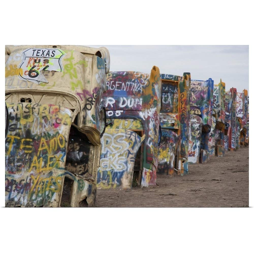 """GREATBIGCANVAS Poster Print Entitled Cadillac Ranch Along Route 66, Texas by 18""""x12"""""""