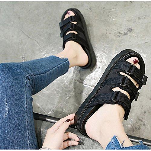 T de inferiores playa Zapatos las Sandalias estudiante Zapatillas mujeres punta 3 impermeable de de de Zapatos verano abierta Color Blanco gruesas ZHIRONG de 5 zapatos Plataforma Negro moda CM romanos wURBf66qx