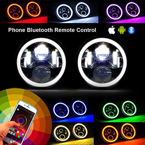 IPARTS RGB Angel Eye Halo Bluetooth Headlight for Jeep Wrangler 2&4 Door TJ JK - Girls 2014 Spring Break