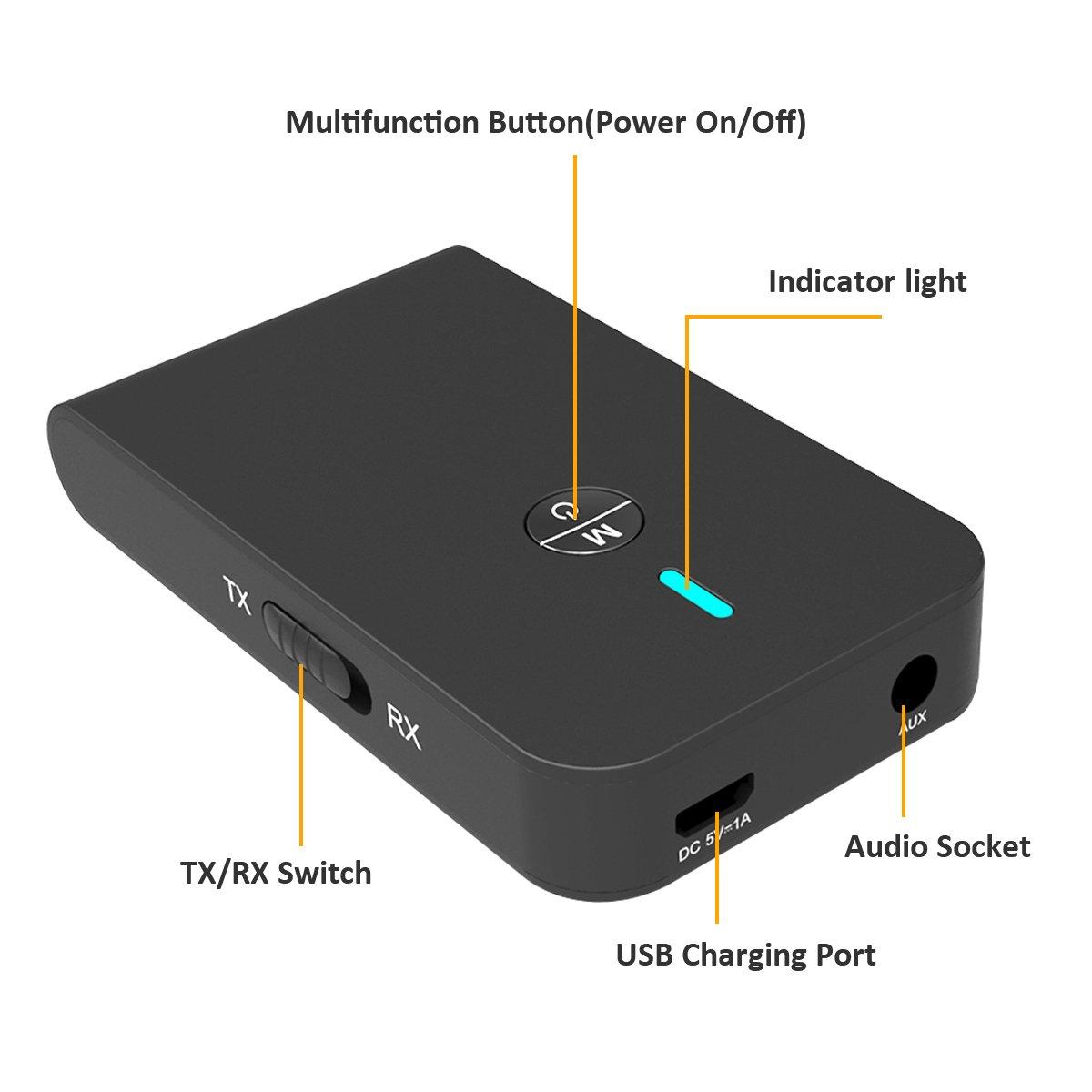 Bluetooth Adapter,YOTTA 2 in 1 Bluetooth Empfänger Transmitter Mini Tragbar mit 3,5mm Audio Adapter für Phone / PC / Auto / TV / MP3 / Kopfhörer und mehr(30 Stunden Playtime)