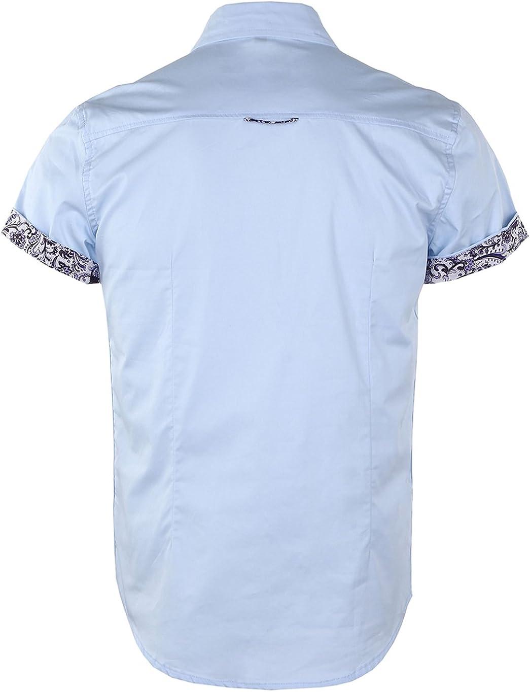 Jandukar Mens Floral Shirts Short Sleeve Print Dress Shirt Button Down Summer Casual Shirt, XX-Large, SkyBlue