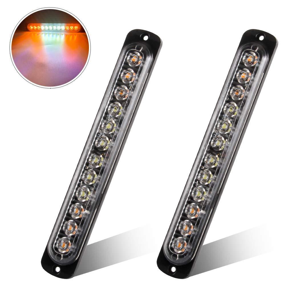 2 Unids S/úper Brillante 12 LED L/ámpara de Advertencia de Emergencia Ambar Intermitente Luz Estrobosc/ópica Barra de la L/ámpara Intermitente Universal para 12-24 V Car Truck Trailer Caravan