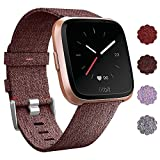 QIBOX Fitbit Versa Bands, Fashion Woven Fabric Wrist Strap Quick Release Watch Band with Classic Square Stainless Steel Buckle for Fitbit Versa Fitness Smart Watch