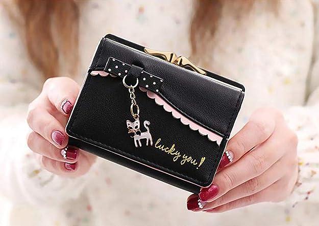 Amazon Com Uto Monedero Para Mujer Diseño De Gatito Con Lazo Tamaño Pequeño 172 Negro S Shoes