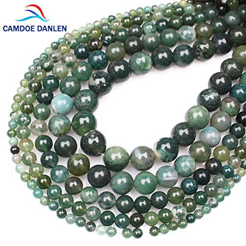 Agate Bead Moss String - CAMDOE DANLEN Moss Agates Natural Stone String Loose Round Beads Strand 4MM 6MM 8MM 10MM 12MM 14 MM DIY Charms Beads For Jewelry Making shipping free (14mm)