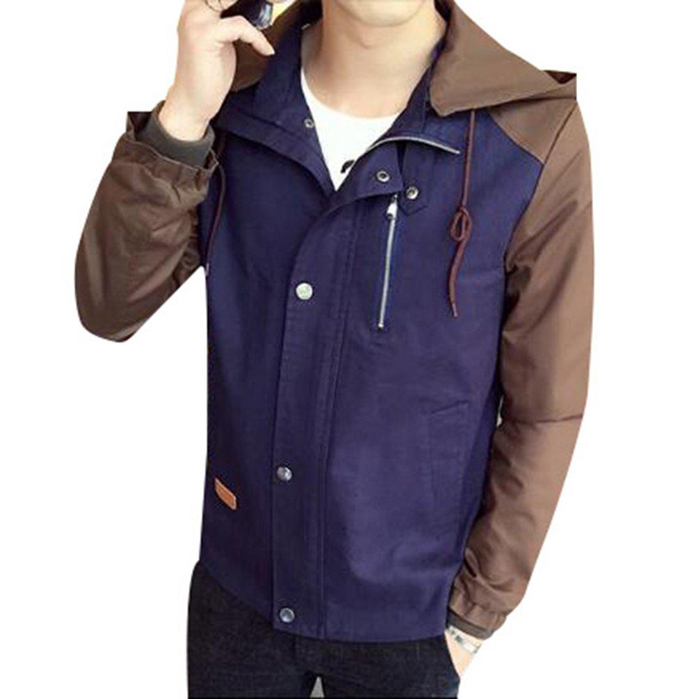 BellyLady Men's Korean Version Spell Color Hooded Jacket