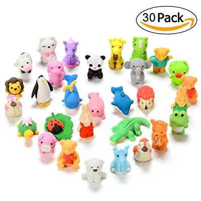 Sakiyr 30PCS Japanese Erasers for Kids, Mini Puzzle Animal Pencil Erasers set for Kids Games Prizes Party Favors and School Supplies