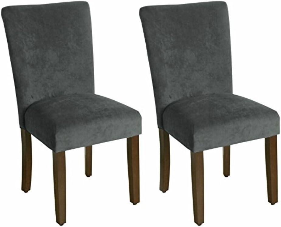 HomePop Parsons Classic Upholstered Accent Dining Chair, Set of 2, Dark Grey Velvet