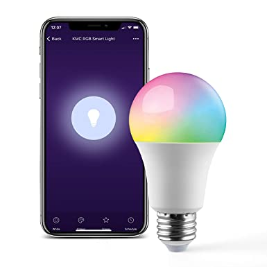 KMC Smart LED Light Bulb, RGB Multicolor, Dimmable, No Hub Required, Compatible with Alexa, Google Assistant and IFTTT, A19 E26 7.5W Equivalent 60W