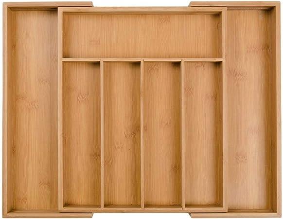 Ampliable 5-7 compartimentos Organizador de utensilios de cocina de bambú Cubiertos Cajón Bandeja