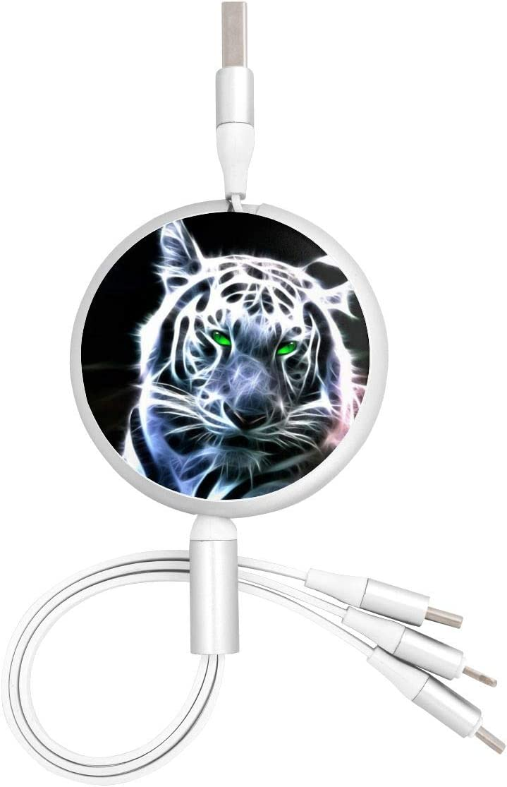 Green-Eyed Tiger Multiple 3 in 1 USB Fast Charging Cable Retractable Micro USB Type C Multi Charger Cord Connectors Compatible with Cell Phones Tablets Universal Use