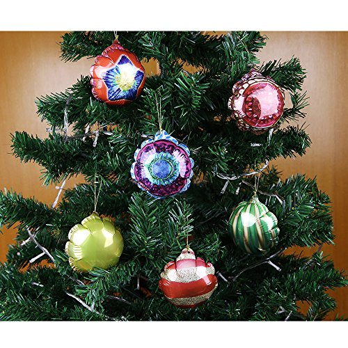 """6Pcs Christmas Tree Decoration Hanging Ornaments/Pendants Self-Inflating Balloon for Holiday Party 3.1"""" (8cm)"""