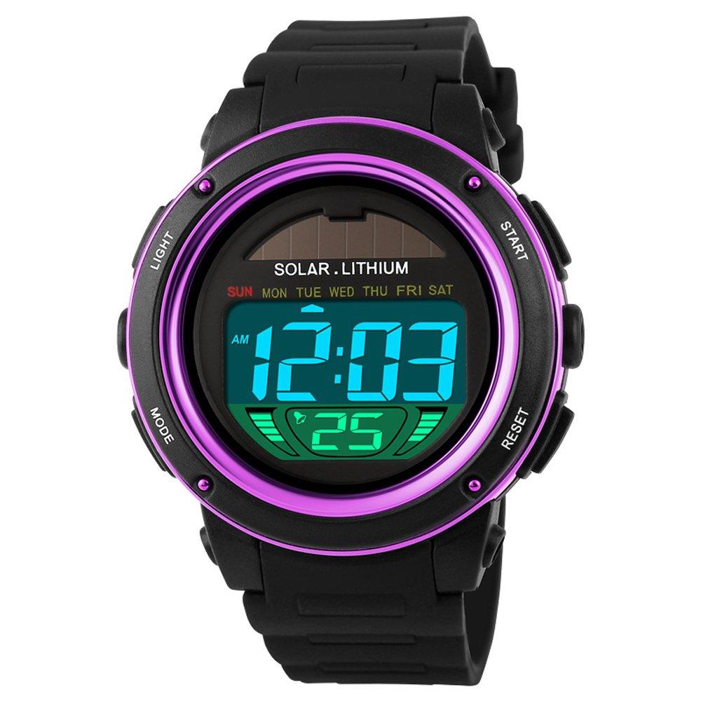 Waterproof Shockproof Digital Watch Solar Power Fashion Sports Wristwatch Purple by OLSUS