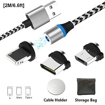 Cable USB de carga magnética tipo C micro USB, adaptadores de cargador de cable 3 en 1 múltiples con LED para Android-Sin datos de sincronización. ...