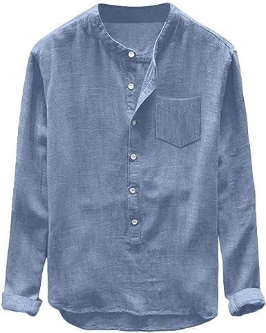 Camiseta Camisa De Verano para Hombre Camisa De Lino para Ropa de Fiesta Hombre Tipo Algodón Puro Y Cáñamo Camisas De Manga Tres Cuartos Top: Amazon.es: Ropa y accesorios