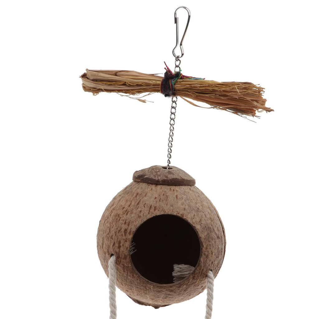 MagiDeal Handmake Natural Pet Parrot Toy Natural Coconut Shell Bird Nest House - #2 by Unknown (Image #6)