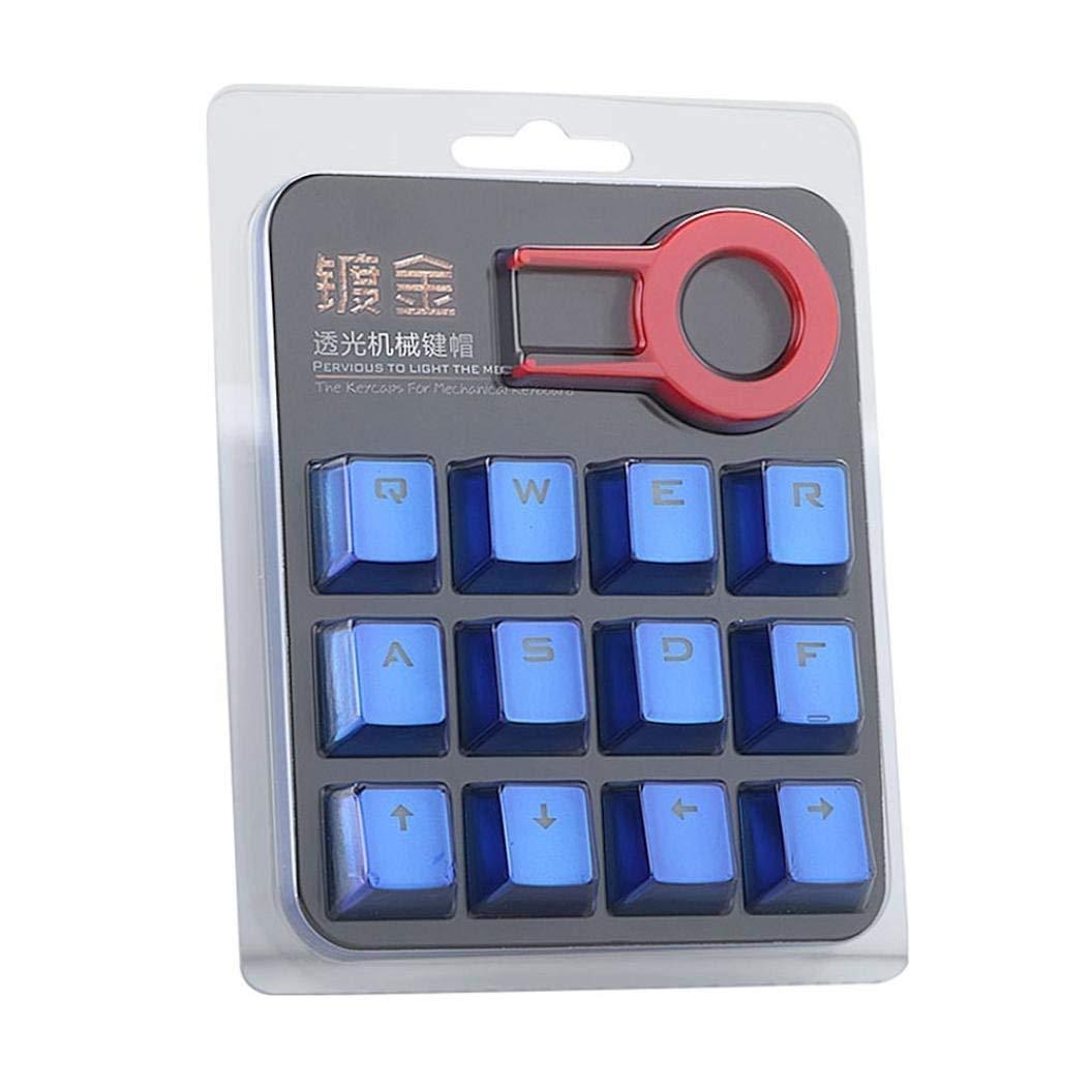 12 PBT Keycap Doble inyección de inyección de fondo Blue metal color Keycaps para juegos teclado mecánico con llave extractor: Amazon.es: Electrónica