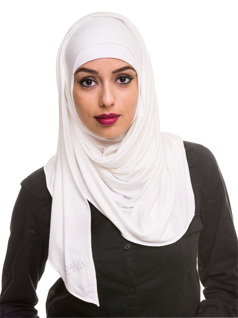 Kashkha Women's Ready To Wear Instant Hijab Scarf , Off White, 22inches Width*77inches Length /(55cm*200cm)
