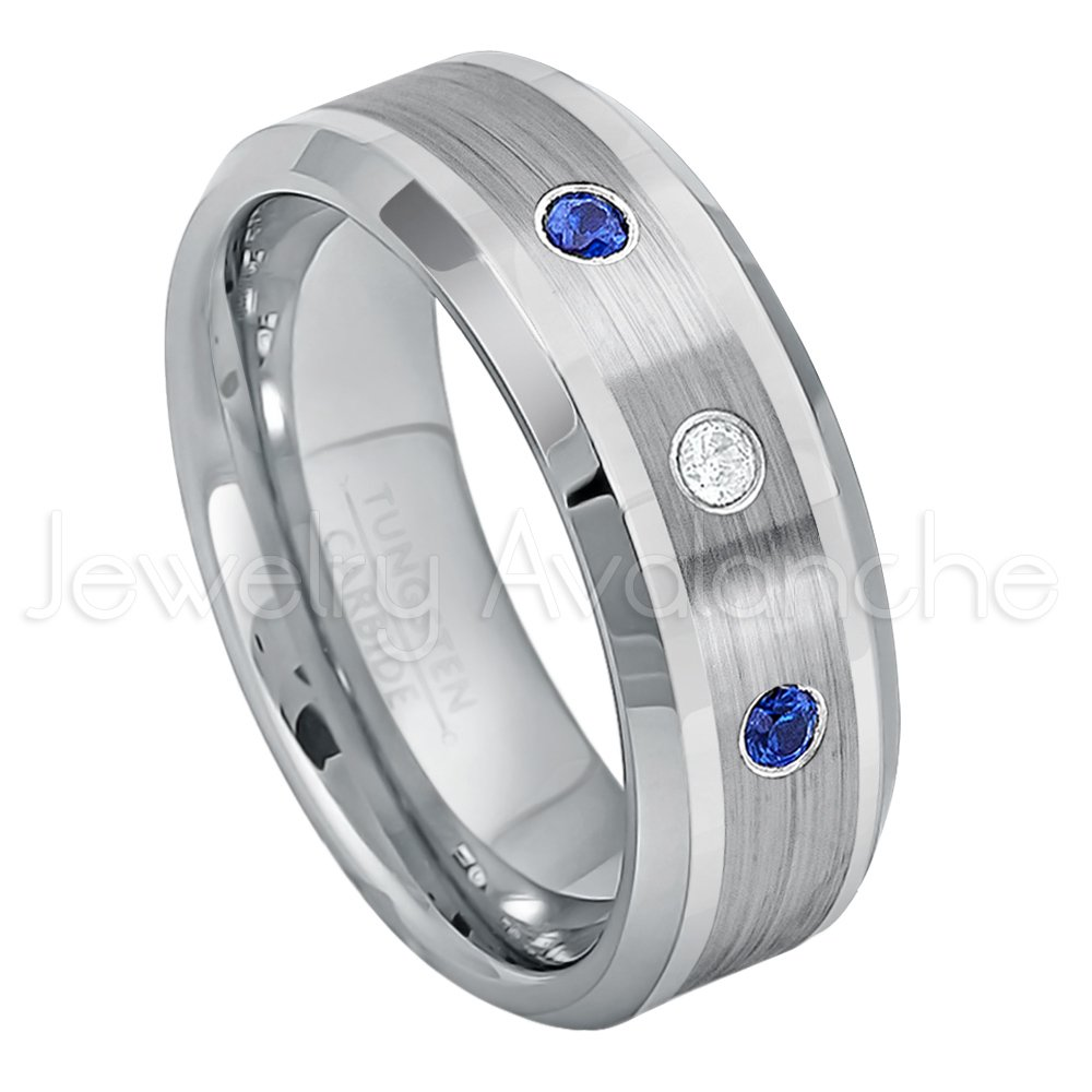 0.21ctw Diamond & Blue Sapphire 3-Stone Tungsten Ring - 8mm Comfort Fit Tungsten Carbide Wedding Ring - WDSPs13