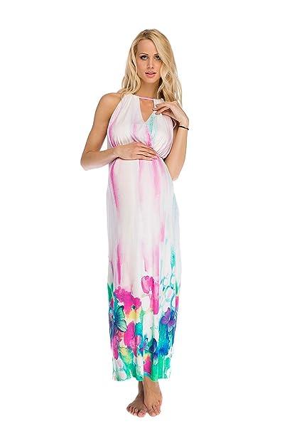 Vestido maxi Premamá y de lactancia Eva flores S (small)