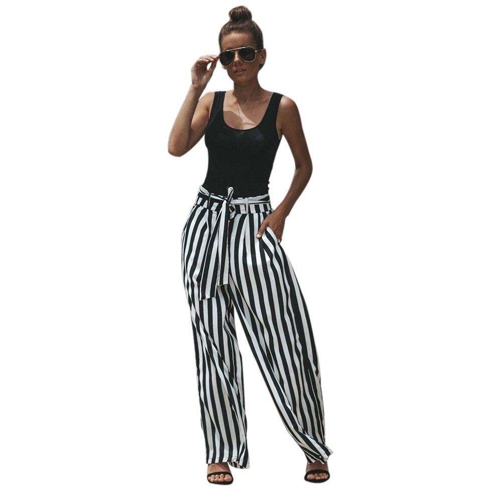 Goocheer Women's Stripe Long Palazzo Pant High Waist Wide Leg Trousers with Belt (M, Black-White)