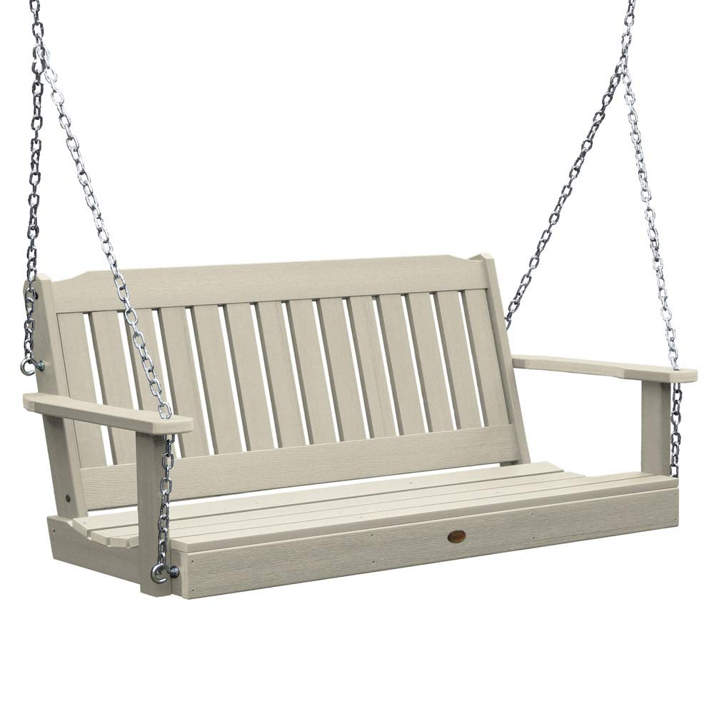 SKB family 4 Foot Lehigh Porch Swing, 52'' x 22'' x 24'' x 60 lbs, Whitewash