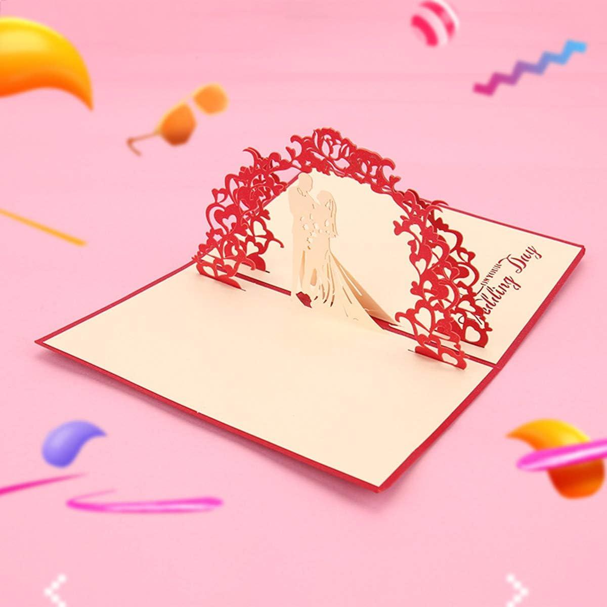 Cadeau de Cartes de Saint Valentin Carte de Voeux 3D Pop Up Carte de Mariage Avec Carte Pliante dEnveloppe Pour Invitation de F/élicitations de Fian/çailles de Mariage Carte de Mariage