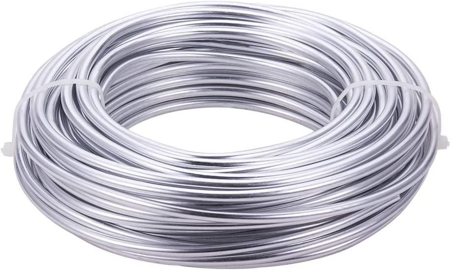 BENECREAT 52 Feet 6 Gauge Silver Aluminum Wire Bendable Metal Sculpting Wire for Bonsai Trees, Floral, Skeleton Making, Home Decors and Other Arts Crafts Making