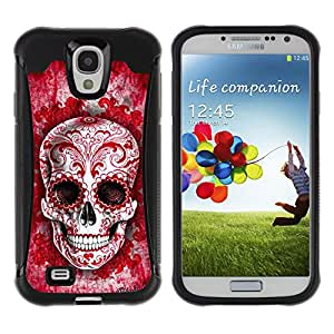 Be-Star único patrón Impacto Shock - Absorción y Anti-Arañazos Funda Carcasa Case Bumper Para SAMSUNG Galaxy S4 IV / i9500 / i9515 / i9505G / SGH-i337 ( Red Blood Love Floral Ink Skull Tattoo )