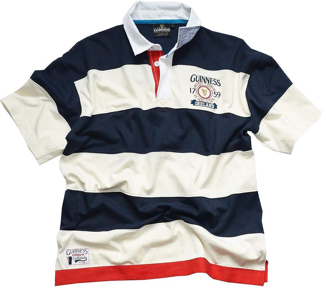 Azul marino/Blanco Guinness Desprotegido 1759 Manga Corta Camiseta De Rugby (S-XXL)