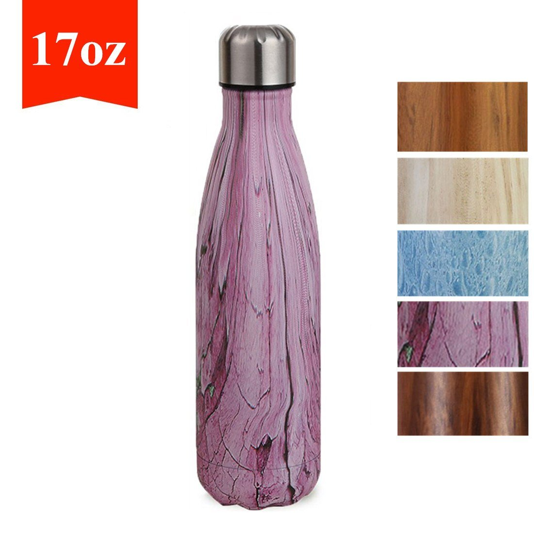 XMX 17oz Vacuum Insulated Water Bottle Double Wall Stainless Steel Leakproof Bottle Outdoor Sports Camping Hiking Cycling Light Purple Wood