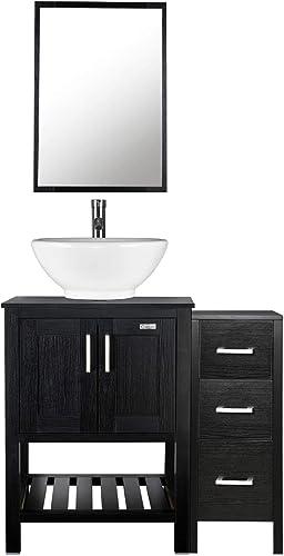 36″ Black Bathroom Vanities,Porcelain Vessel Sink Round