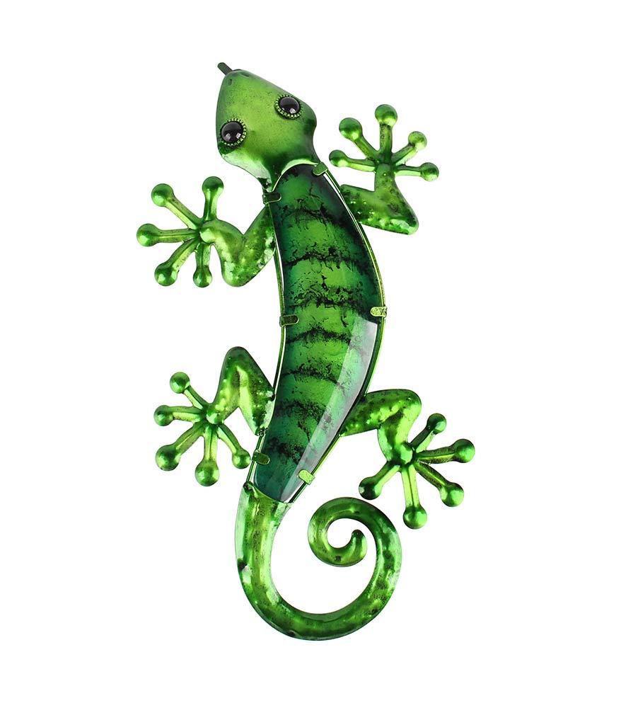 Liffy Metal Gecko Outdoor Wall Art Glass Lizard Decor Green Garden Decorations for Patio or Door, 15.6 Inches Long
