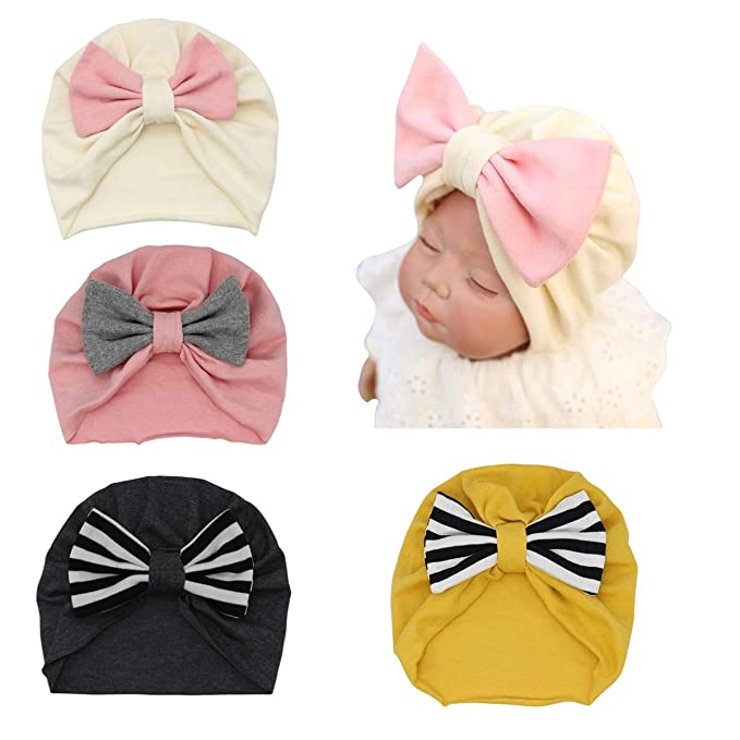 b3f32a9c591 Baby Turban Hat 4 Pack Soft Cotton Toddler Kids Girl Head Wrap with Big Bow  Cap