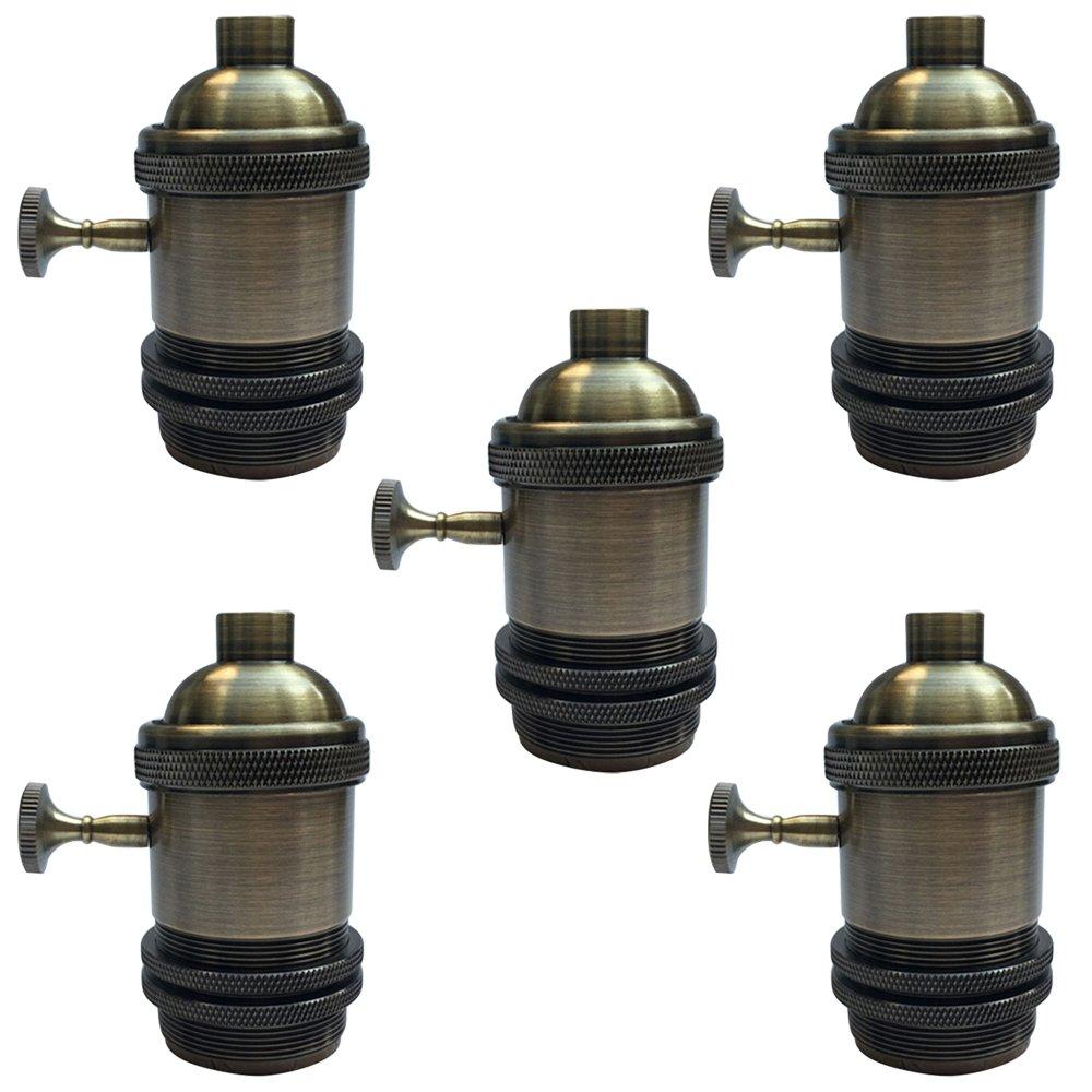 Motent Industrial Solid Brass Retro Knob Light Socket Lamp Holder for Edison E26/ E27 Screw Bulb Base - Bronze (5pcs / Lot)