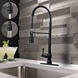 VAPSINT Modern One Handle Single Lever Spring Sprayer Pull Down Stainless Steel Pre Rinse Pull Out Oil Rubbed Bronze Kitchen Faucet, Commercial Bronze Kitchen Sink Faucet